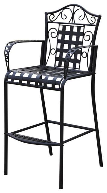 Mandalay Iron Bar Height Chair, Antique Black, Set Of 2.