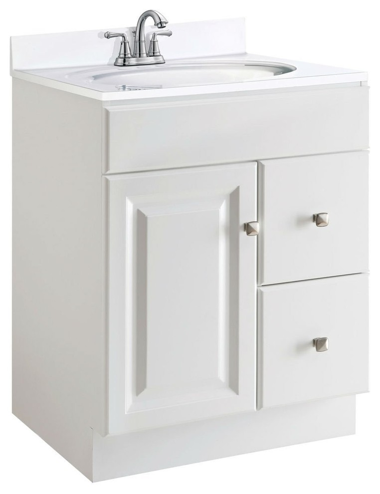 24-Inch Modern Bathroom Vanity Cabinet Base In White Semi ...