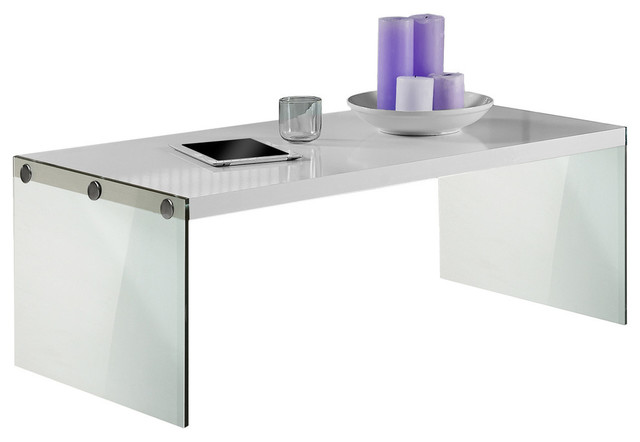 Coffee Table, Glossy White With Tempered Glass