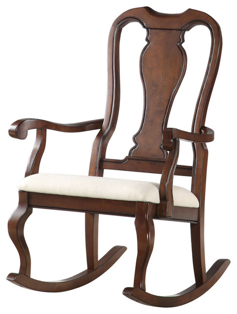 Acme Sheim Rocking Chair, Beige Fabric And Cherry