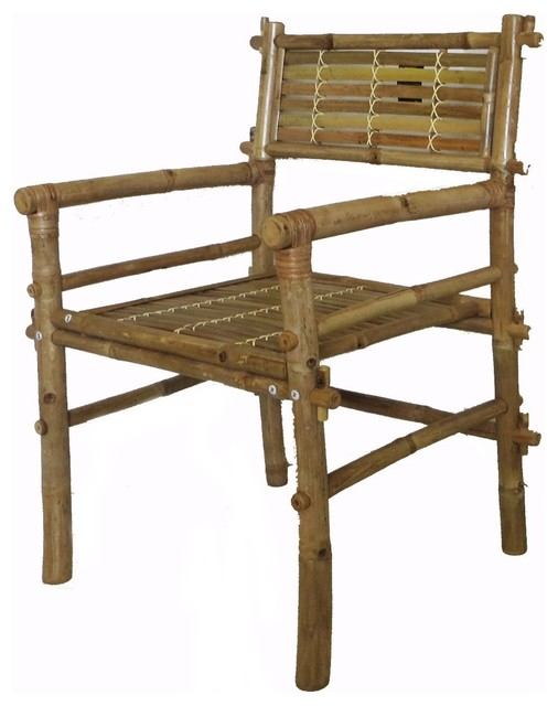 Set Of 2 Pieces Solid Bamboo Arm Chair Disassembled 25