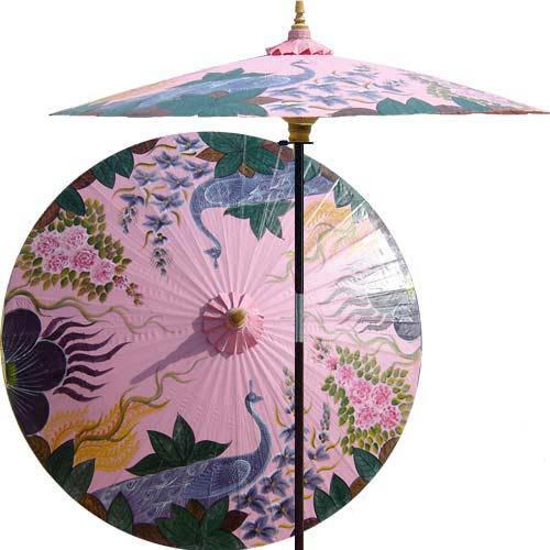 Peacock Garden Outdoor Patio Umbrella, Pristine Pink Asian Outdoor Umbrellas