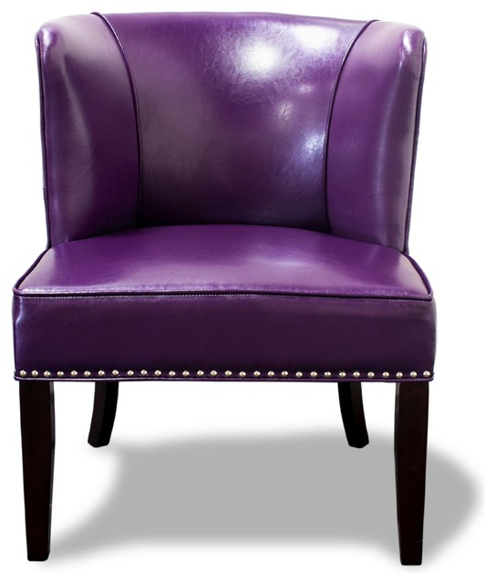 Faux Leather Contemporary Living Room Accent Chairs Set Of 2 Violet Armchairs