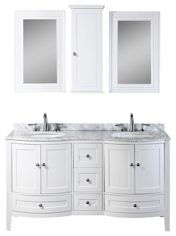 Rome 60 Double Vanity Set With Mirror And Wall Cabinets White Transitional Bathroom Vanities And Sink Consoles By Blossom Kitchen Bath Supply Houzz
