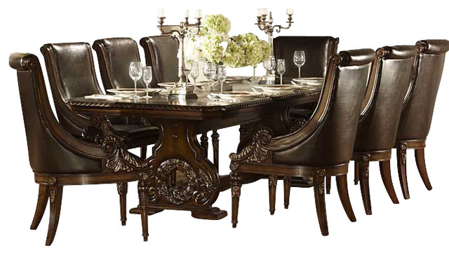 Great Homelegance Orleans 11 Piece Double Pedestal Dining Room Set In Rich Dark  Cherry
