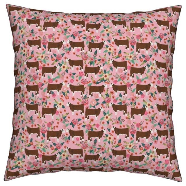 Cattle Cow Farm Hereford Cows Cow Fabric Throw Pillow
