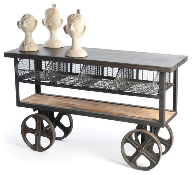 industrial loft merchandise console table cart - traditional