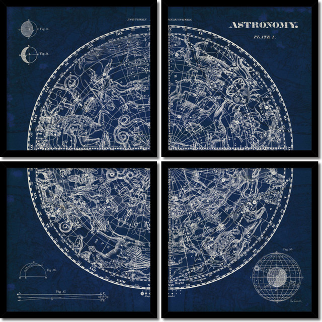 Susan schlabach celestial blueprint quad set of 4 framed art susan schlabach celestial blueprint quad set of 4 framed art print malvernweather Choice Image