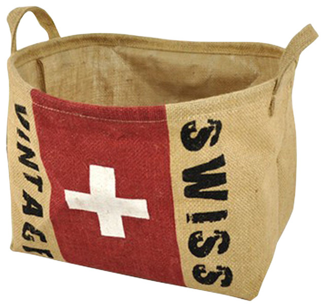 The Swiss Flag Design Household Essentials Laundry Basket.