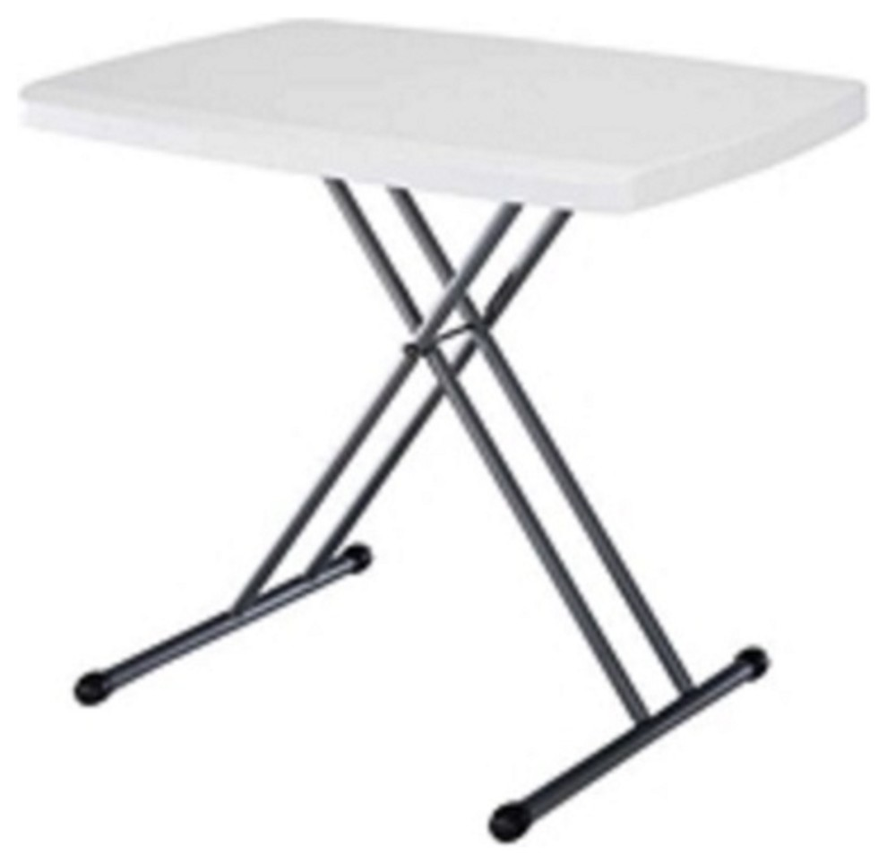 - White Plastic Top Folding Table With Sturdy Steel Metal Legs