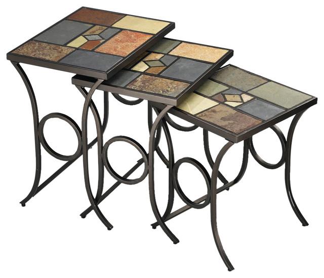 Nesting Tables w Mosaic Slate Tops - 3/Set