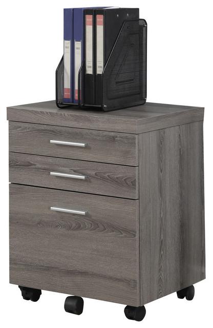 3-Drawer Filing Cabinet on castors, Dark Taupe