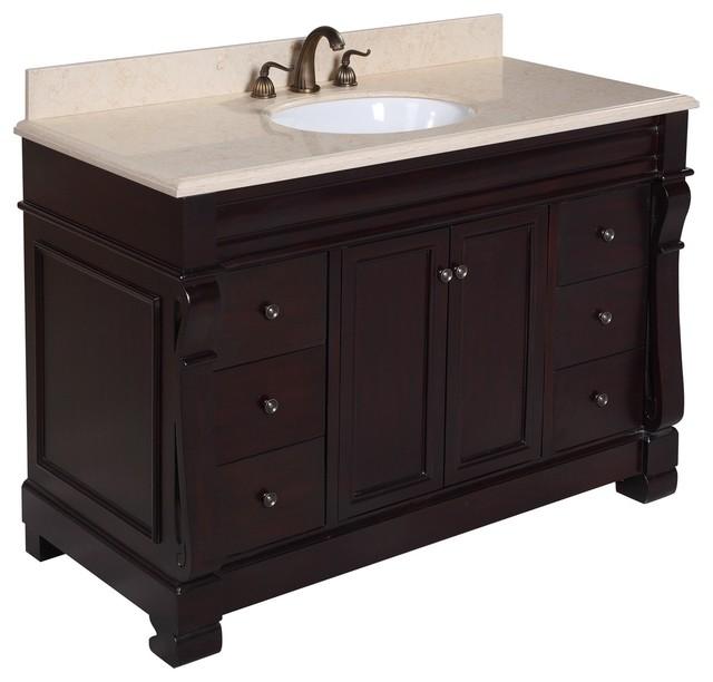 westminster bath vanity base chocolate 48 top travertine traditional - Bathroom Vanitiy