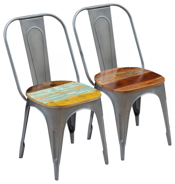 vidaXL Dining Chairs, Set of 2, Solid Reclaimed Wood, 47x52x89 cm