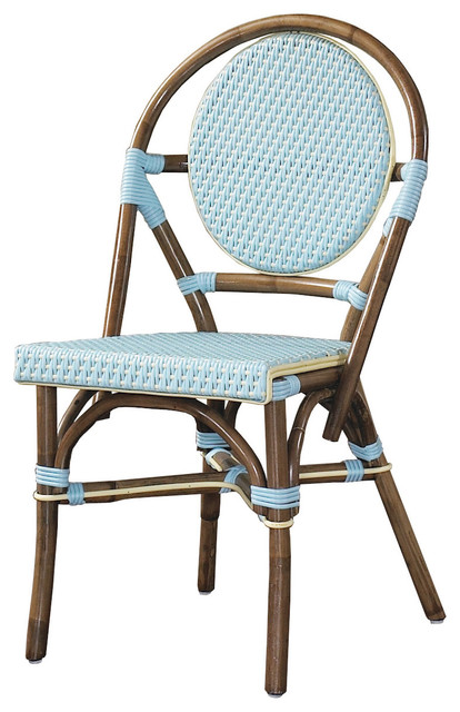 Padma s Plantation Outdoor Bistro Chair in Blue Outdoor Dining Chairs