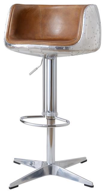 Aviator Adjustable Height Bar Stool Leather And Metal
