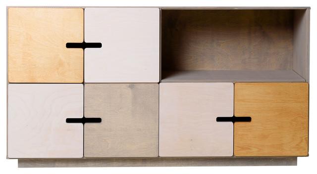 PIX Sideboard, Pebble Grey, White, Oak, 3 Cupboards