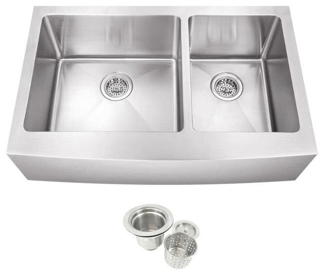 Stainless Steel Double Farmhouse Sink : Stainless Steel Undermount Farmhouse 60/40 Double Bowl Kitchen Sink ...