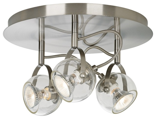 Seeded Glass Bathroom Light Satin Nickel Dolan Designs: Contemporary Brushed Nickel And Clear Glass 3-Light