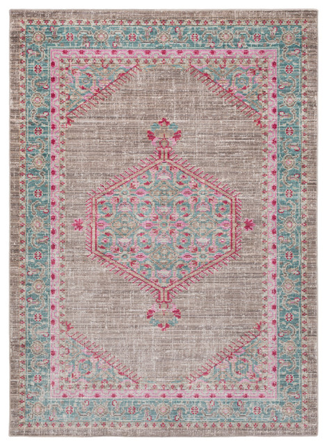 """Germili Traditional Teal, Taupe Area Rug, 2&x27;11""""x7&x27;10""""."""