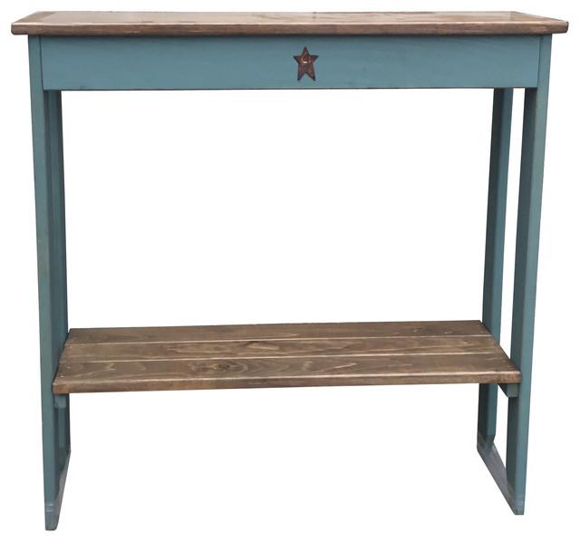 Rustic Primitive Pine Wood Sofa Table With Shelf Sea Foam Green Walnut St
