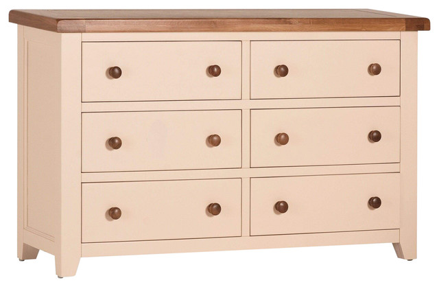 Champagne Painted Oak Wide Chest of Drawers