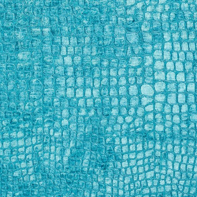Aqua Turquoise Alligator Print Shiny Woven Velvet Upholstery Fabric