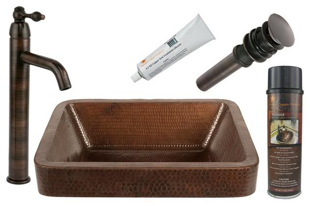 Premier Copper Products, BSP1_VREC17SKDB Vessel Sink, Faucet, Accessories