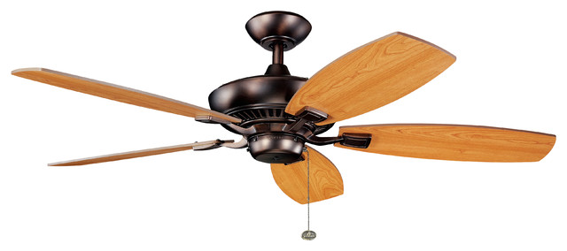 """52"""" Canfield Fan, Oil Brushed Bronze/cherry And Light Walnut Blades."""