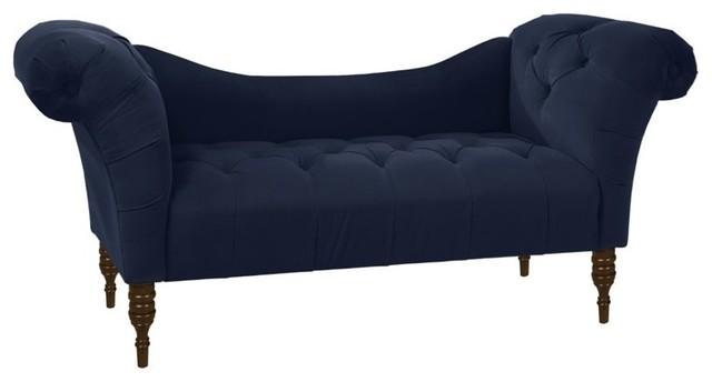 Skyline furniture tufted chaise velvet pewter indoor for Blue velvet chaise lounge