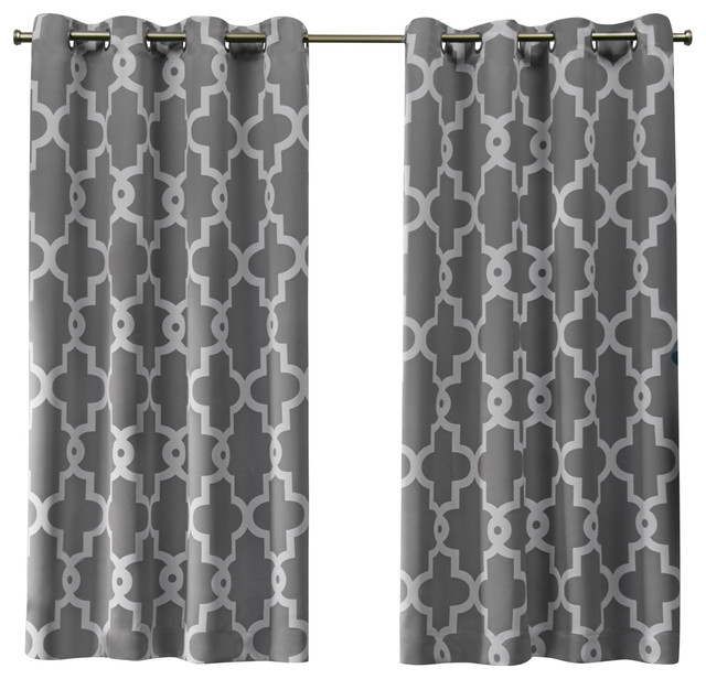 Ironwork Sateen Blackout Grommet Top Window Curtain Panel Pair, 52x63, Silver.