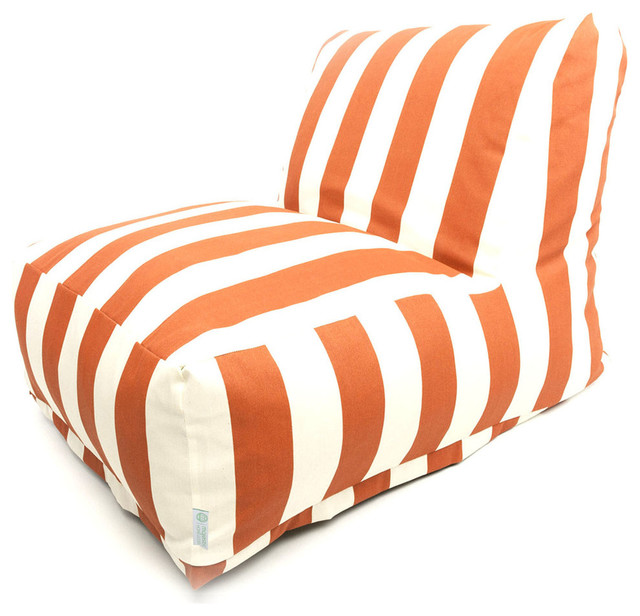 Brilliant Outdoor Vertical Stripe Bean Bag Chair Lounger Burnt Orange 27 L X 36 W X 24 Machost Co Dining Chair Design Ideas Machostcouk