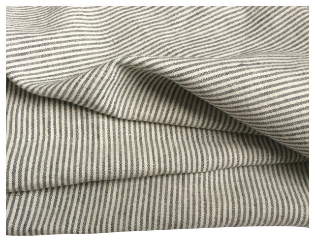 Grey White Ticking Stripe Bed Top Sheet Contemporary