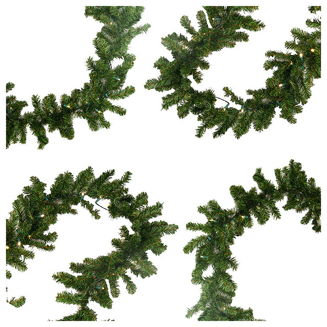 Pre-Lit Battery Operated Pine Christmas Garland, Warm Clear Led Lights, 9&x27;x10.