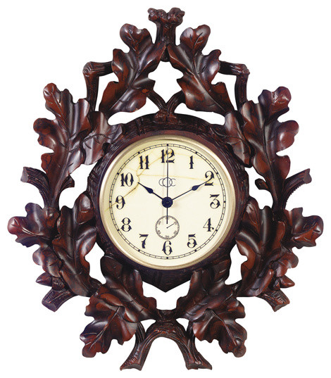 Oak Leaf Wall Clock Rustic Wall Clocks By Lodgeandcabins