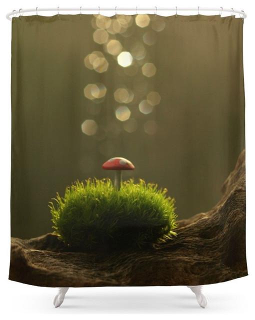 Tiny Mushroom in the Moss, Shower Curtain