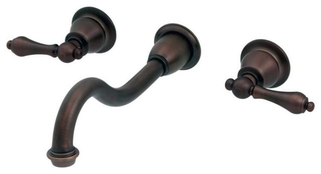 Elegant Spout Wall Mount Vessel/Lavatory Faucet, Lever handles