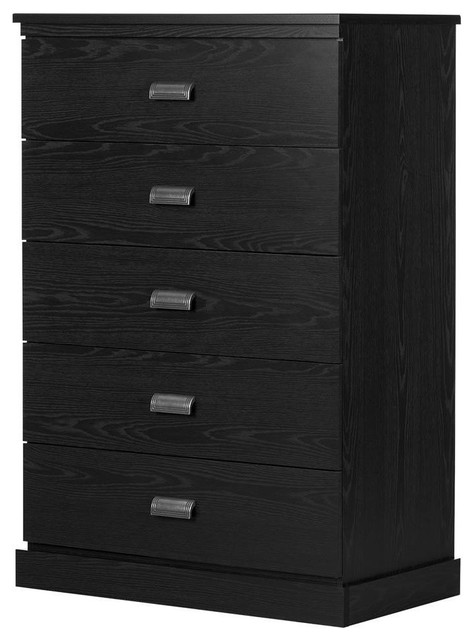South Shore Gloria 5-Drawer Chest, Black Oak