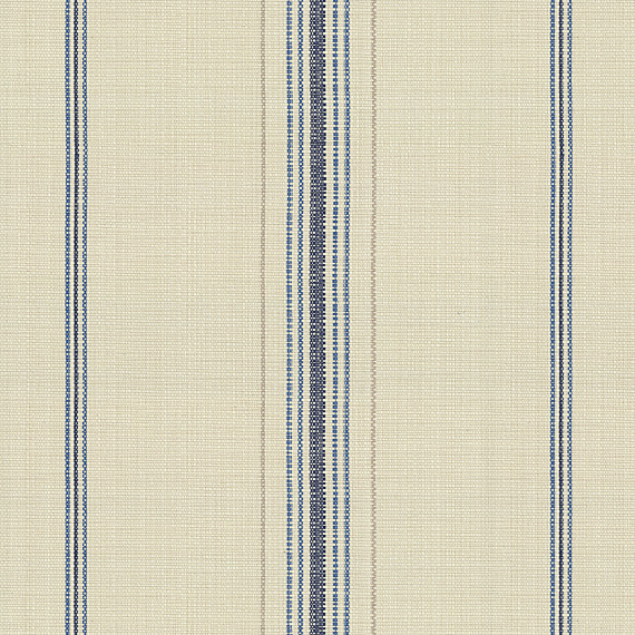 Blue Feedsack Style Cotton Stripe Fabric Farmhouse
