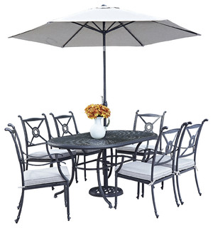 Richmond Outdoor Dining Table, Chairs and Umbrella, 9-Piece Set ...