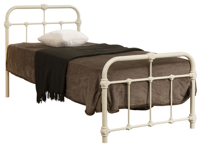 Mandy Hospital Style Metal Bed Frame Cream Victorian Metal Bed