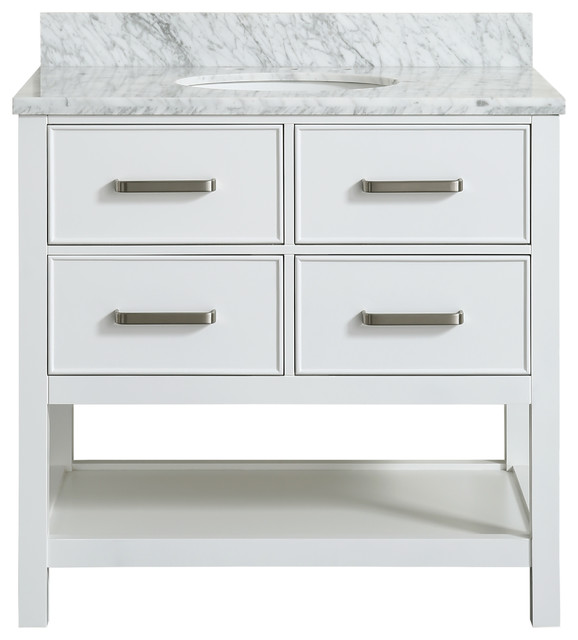 """Louella White Contemporary Bathroom Vanity With Marble Top, 36""""."""
