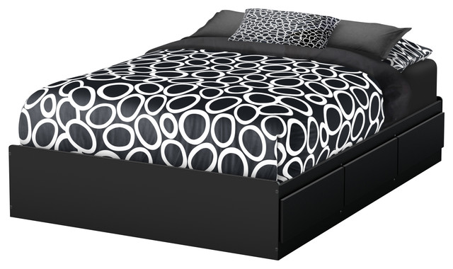 south shore step one full mates bed with 3 drawers pure black