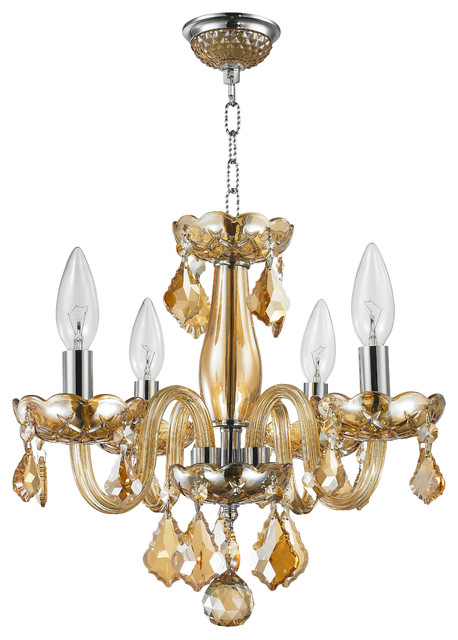 "Thor  4-Light 12"" Crystal Candle Chandelier, Amber"
