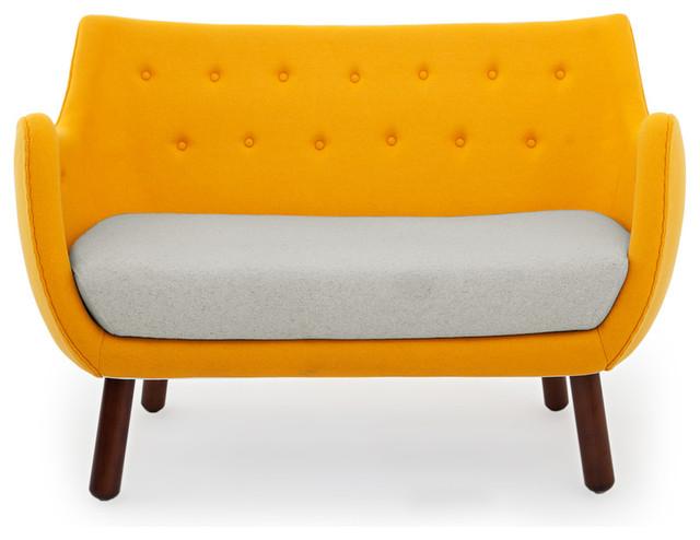 1946 Parlor Midcentury Modern Sofa, Sunrise/heather White, Material: Cashmere.