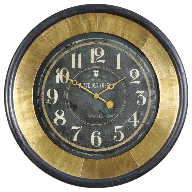 Gold Bronze Retro Style Wall Clock Midcentury Modern Round Vintage Paris Euro Transitional Wall Clocks By Innovations Designer Home Decor Accent Furniture