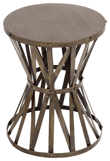 The Rustic Metal Accent Stool Eclectic Accent And