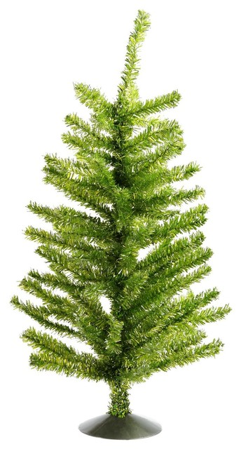 """16"""" Green and Silver Tinsel Table Top Christmas Tree - Unlit"""