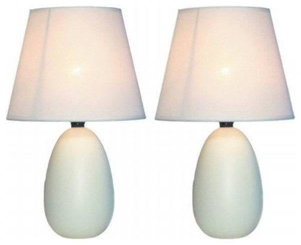 All The Rages LT2009-OFF-2PK Mini Egg Table Lamps, White, Set of 2