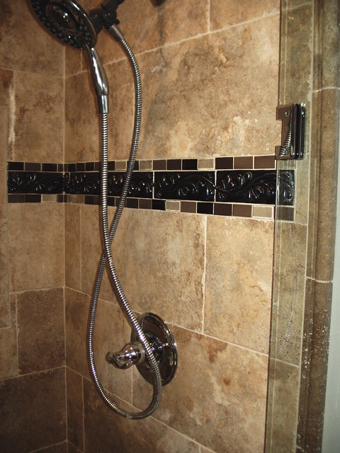 bathroom tiles borders shower tile border mediterranean bathroom cleveland 11749